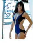 Caroline Munro signed 10 by 8 star of Dracula, Sinbad, Bond #6